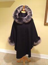Black Cashmere Wool cape with Snow Top fox fur Hood and Cuff Trim LINED