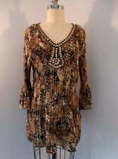 BNWT BEAUTIFUL AVENUE TUNIC TOP PRINTED PLEATED W/ JEWELED NECKLINE SIZE 18/20
