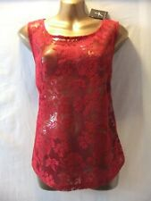 LADIES NWT Atmosphere 16 DEEP RED FLORAL STRETCH LACE/SLEEVELESS CASUAL TOP