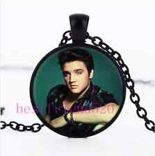 Elvis Presley Photo Cabochon Glass Black Chain Pendant  Necklace