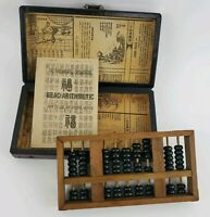 Antiqued Chinese handmade wood box w/ abacus dragon Phoenix