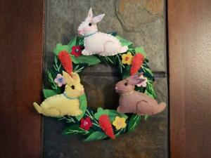 """Hand made 5.5"""" EASTER Candle Ring mini wreath Wool Flannel Carrot RABBIT Bunny"""