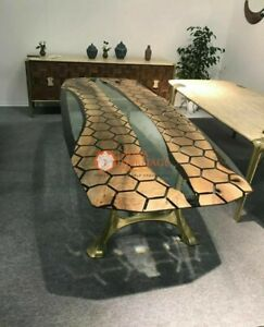 Black Honey Cube Resin Conference Center Table Top Luxury Acacia Decorative Deco
