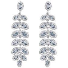 Swarovski Baron Rhodium Plated Pierced Drop Earrings - Blue (5074350)