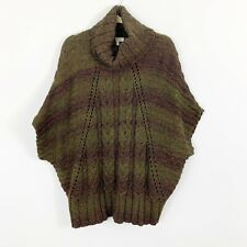 Coldwater Creek Size M/L Turtleneck Sweater Short Dolman Sleeve Green Wool