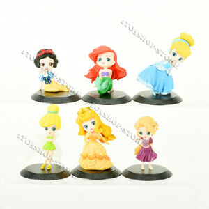 6 PCS Disney Princess Dolls Figures Cake Toppers Mermaid Snow White Tinker Bell