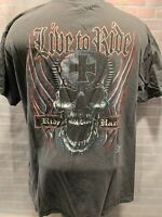 LIVE TO RIDE Ride Hard Skull Iron Cross Motorcycle T-Shirt Size L
