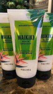 3 BATH & BODY WORKS Body Scrub Waikiki Beach Coconut with Coconut Milk  6 oz