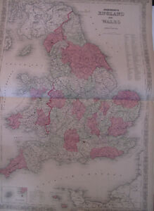 Hand Colored Map Johnson's Atlas Great Britain England Wales London Cardiff 1863