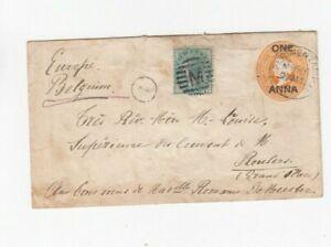 c541/ Brit Indien Ganzsache Umschlag Zusatz oo
