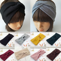 Women Cotton Turban Twist Knot Head Wrap Headband Twisted Knotted Hair Band Grey