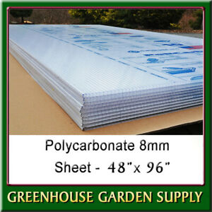 """Polycarbonate Greenhouse Cover 8mm - Clear 48"""""""" x 96""""  (Pak Of 10)"""