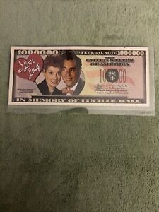 Lucille Ball of I Love Lucy Million Dollar Funny Money Novelty Note +FREE SLEEVE