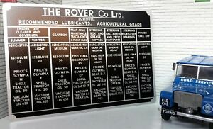 Bulkhead Lubricants Information Plate Plaque Land Rover Series 1 80 86 88 107