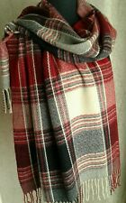 New Red Grey Cream Check Pattern Blanket Scarf - Pashmina.