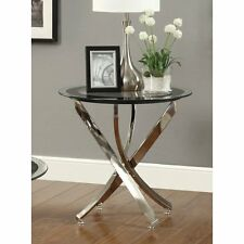 Modern Round Glass Side Sofa End Table - Night TV Stand - Antique Vintage Look