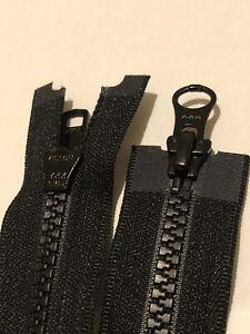 NO-5,2WAY,BLACK,VISLON MOLD/PLASTIC/CHUNKY 39 INCH 100CM LONG OPEN END,YKK ZIP
