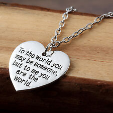 """""""To Me You Are The World"""" Engraved Love Heart Beads Charms Pendant Necklace Gift"""