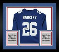 """Framed Saquon Barkley New York Giants Signed Blue Game Jersey with """"18 ROY"""" Insc"""