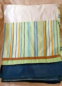 Kidsline Blue Orange Striped Baby Nursery Crib Skirt Dusk Ruffle Little Boys