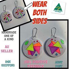 WEAR BOTH SIDES Earrings Art boho dangle bling hoops sparkles rainbow geo 80s