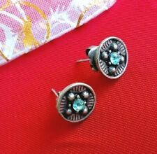 Retro round STUD EARRINGS with blue crystals silver tone colour FREE UK P&P