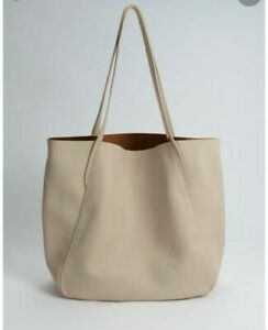Oasis Over sized Soft Faux Leather Tote Bag Cream RRP £35
