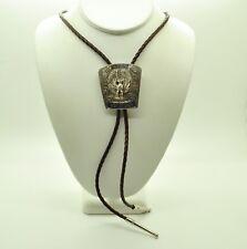 Sterling Silver Brown Leather Strap W/Eagle Shape Design Bolo Tie #Fmw675