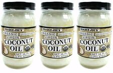 THREE lot 3 Trader Joe's Organic Coconut Oil 6 fl oz natural cooking baking skin