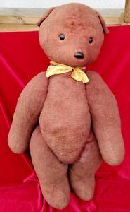 Antique Teddy Bear Primitive Straw Wool Toy Roar Sound Romanian Interwar size 27