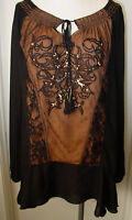 Women's Tunic Top Blouse Black Tan Krista Lee Luxe Group Embroidered Beaded NEW