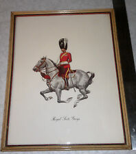 Antique Lithograph Scottish Royal Scots Greys Horse and Uniform Print
