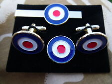 RAF Roundel Cufflink, lapel pin +tie slide set, Royal Air Force, Mods, Scooters