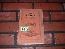 GENUINE AUSTIN EIGHT & TEN RUNNING AND MAINTENANCE INSTRUCTION BOOK.1953