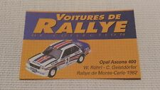 Certificat Voiture De Rallye De Collection « Opel Ascona 400 »TBE.