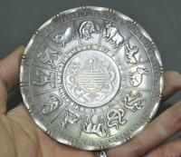 Old Chinese Tibetan Silver 12 Zodiac animal 2 dragon play beads plate dish tray