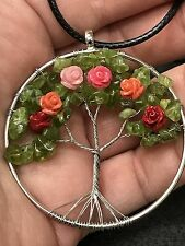 "Tree of Life Flowers in Bloom Wire Charm Tibetan Silver 18"" Necklace TOLF1"