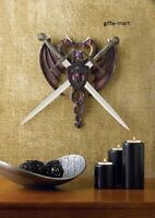 fighting double dragon Dagger SWORD display Sculpture wall mount plaque statue