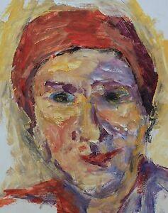 Paul Werner: Porträt einer Dame mit rotem Kopftuch, Frau, Portrait, Ölgemälde