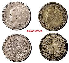 Netherlands Wilhelmina I  Silver  LOT OF 2 COINS 1926,1930 10 Cents  KM# 163