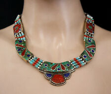 Ethnic Handmade Tibetan Fashion Sterling Silver Necklace Turquoise Tribal NB6