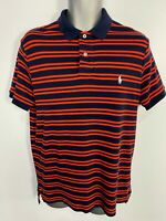MENS RALPH LAUREN POLO LARGE NAVY/RED STRIPED CASUAL SHORT SLEEVED T-SHIRT TOP