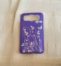 HTC DESIRE HD MOBILE PHONE COVER PURPLE WITH SILVER FLOWERS NEW