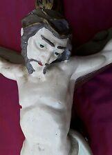 VECCHIO CROCEFISSO IN GESSO DIPINTO A MANO CRISTO IN CROCE INRI RELIGIONE GESU'