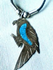 """MEXICAN ALPACA SILVER PARROT 2"""" PENDANT WITH TURQUOISE DECORATION  £6.99 NWT"""