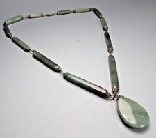 Fine China Chinese Jade Rectangular Spacer Necklace w/ Oval Pendant ca. 20th c.
