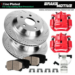 Rear Red Brake Calipers And Rotors & Pads For Infiniti G35 M35 M45 Nissan 350Z