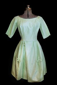 VTG 50's 60's Mint Green Moire Satin Formal Dress XS/SM Party PROM Fit Flare