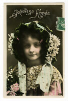 c 1910 Children Kids Child FLOWER BONNET GIRL and lace tinted photo postcard