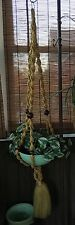5 Ft. Vintage Yellow Macrame Plant Hanger with Green Planter, Artificial Plants